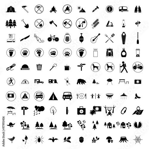 Fototapeta 100 Camping icons set obraz na płótnie