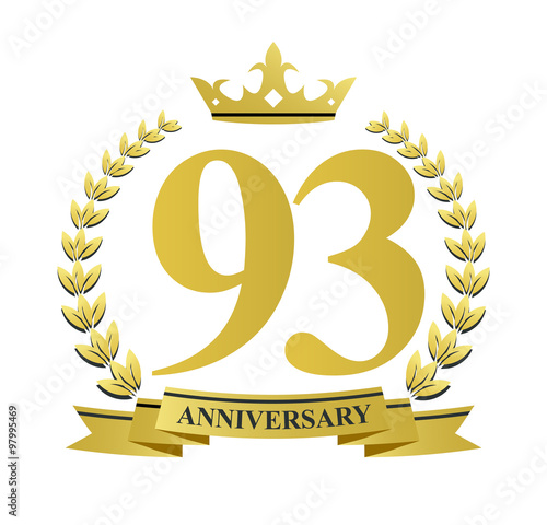Fotografie, Obraz  93 anniversary with golden wreath, ribbon and crown