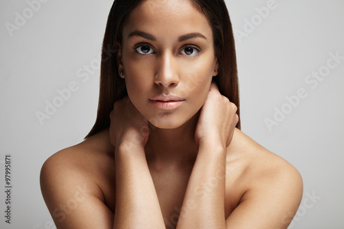 clean skin portrait of spanish woman buy this stock photo and