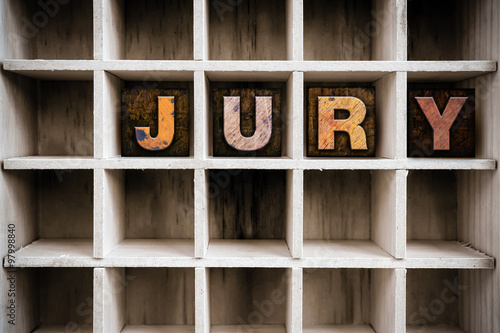 Jury Concept Wooden Letterpress Type in Drawer Poster