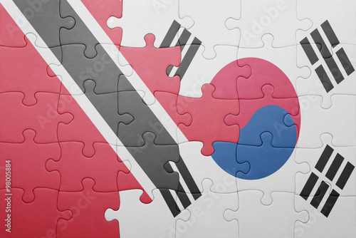 puzzle with the national flag of trinidad and south korea Poster