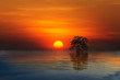 Tropical colorful sunset, Songkhla, Thailand