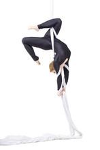 Woman Dancing With Aerial Silks