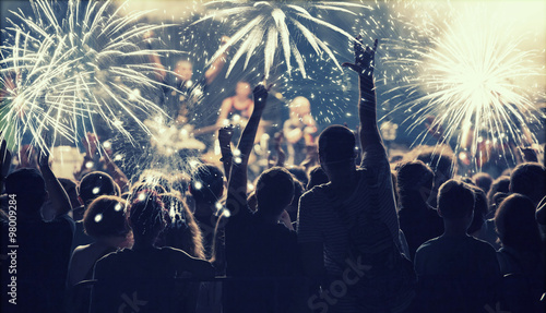 Fotografie, Obraz  New Year concept - cheering crowd and fireworks