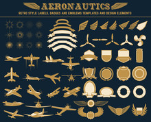 Aeronautics Retro Style Labels...