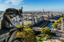 Notre Dame De Paris: Famous Stone Demons Gargoyle And Chimera.