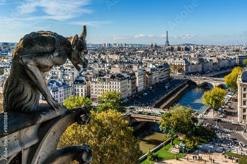 Fotografia  Notre Dame de Paris: Famous Stone demons gargoyle and chimera.