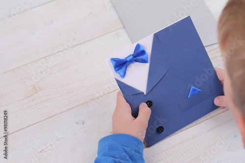 Child Making Greeting Card For Father Handmade Dad Happy