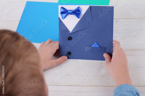 Child Making Greeting Card For Father Handmade Dad Happy Birthday