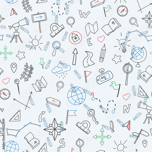 Fotografia  Seamless pattern with hand drawn signs on the theme of geography and travel, the