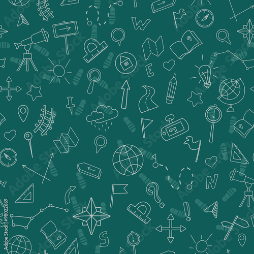 Fotografia  Seamless pattern with hand drawn signs on the theme of geography and travel, whi