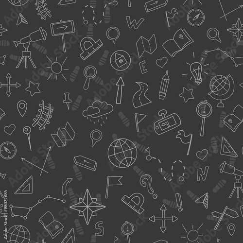Seamless pattern with hand drawn signs on the theme of geography and travel, whi Obraz na płótnie