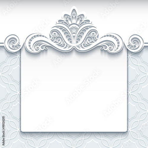 White Lace Background, Wedding Invitation Template