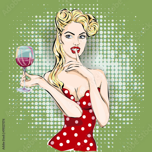 obraz PCV Shhh pop art woman face with finger on her lips and glass of wine