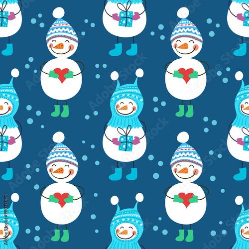 Cotton fabric A seamless pattern of snowmen