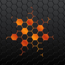 Black Background Of Hexagonal Mosaic. Yellow Background In The C
