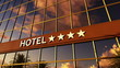 hotel sign with stars on facade