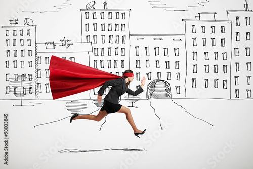 Photo  businesswoman wearing like superhero very fast running in drawed