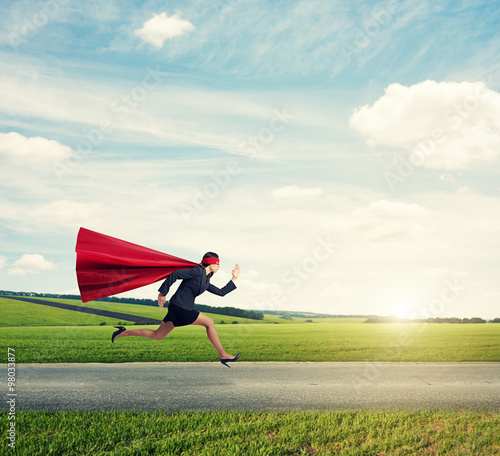 concentrated superwoman fast running Canvas Print