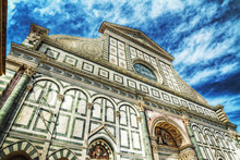 Front View Of Santa Maria Novella Cathedral In Florence