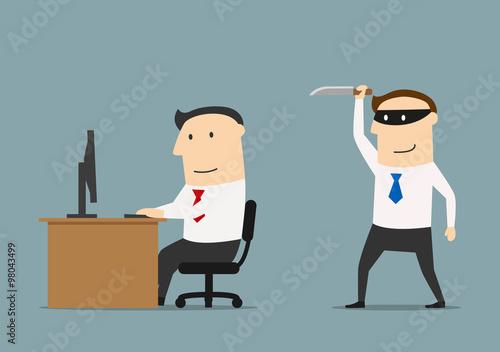 Slika na platnu Competitor sneaks a knife to the businessman