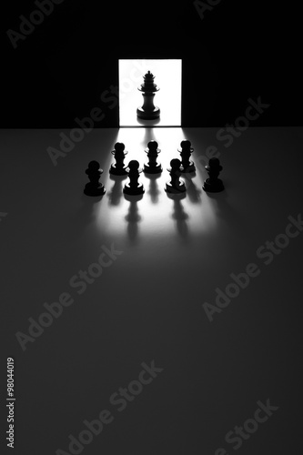 Photo  meeting of the chess pieces