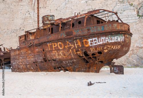 Keuken foto achterwand Schip Closeup of the famous shipwreck on Navagio Beach