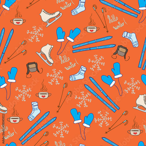 Cotton fabric Vector winter pattern