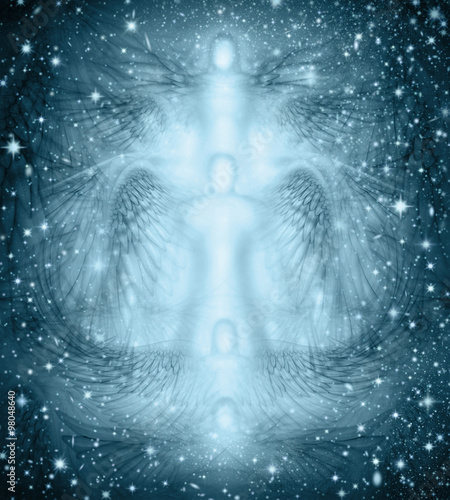 Canvas Print Angels Starry Night Background