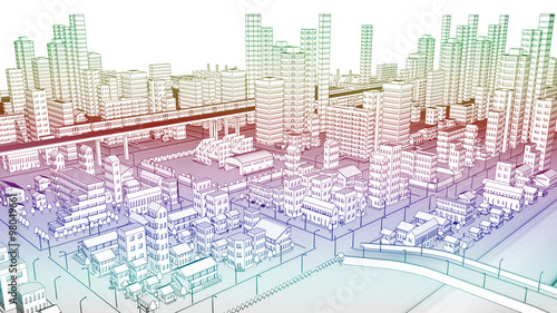 カラフルな線画の市街地の風景