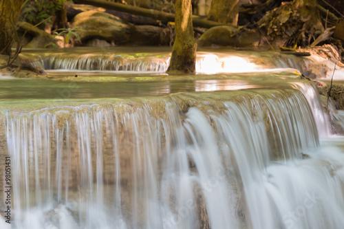 Close up blue steam waterfalls in deep forest national park © pranodhm