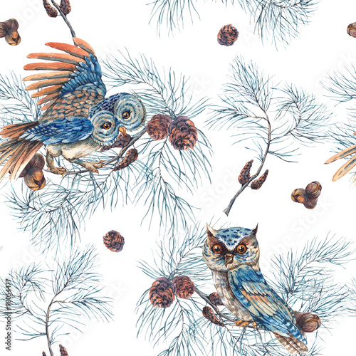 Photo sur Toile Croquis dessinés à la main des animaux Watercolor Seamless Pattern with Owls