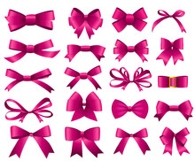 Pink Ribbon And Bow Set For Your Design. Vector Illustration