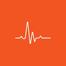 Heart Beat Cardiogram Line Icon