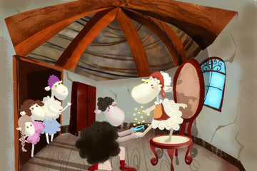 Plakat Illustration for Children: Sheep Prince is Proposing Marriage to Sheep Cinderella. Realistic Fantastic Cartoon Style Artwork
