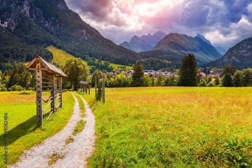 Foto auf Gartenposter Hugel Summer sunny scene of Triglav mountain range