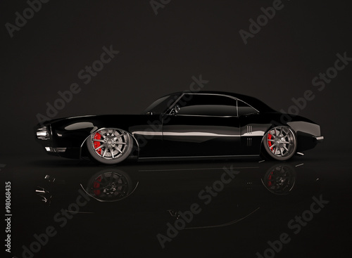 Black tuned muscle car on black background #98068435