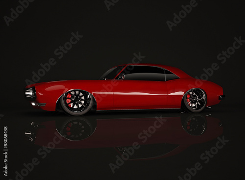Red tuned muscle car on black background #98068438