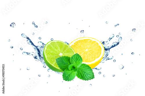 lemon and lime splash isolated