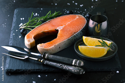 Raw salmon with lemon and spices #98071626
