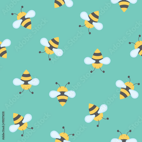 Cotton fabric seamless vector pattern with bees