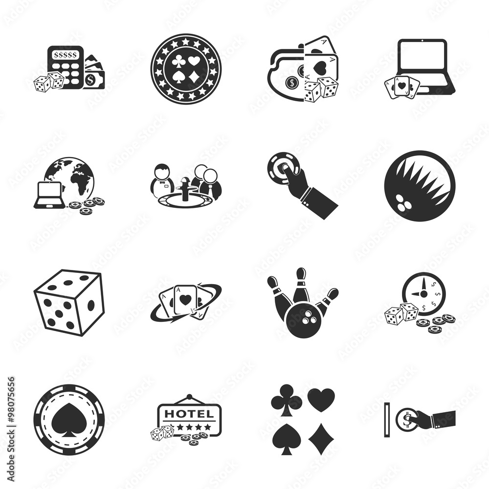 фотография  gambling, casino 16 icons universal set for web and mobile