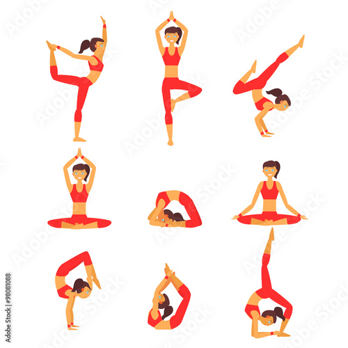 Foto  Vector Yoga Illustration Gesunder Lebensstil.