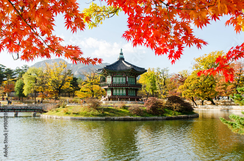 Autumn of Gyeongbokgung Palace in Seoul ,Korea Poster