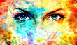 woman eyes on abstract color Backgrounds, painting collage with spots, rust structure.
