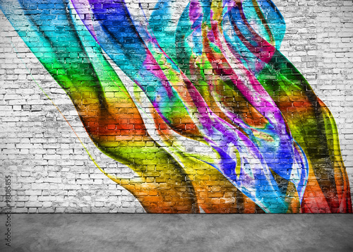 Poster Graffiti abstract colorful graffiti on brick wall