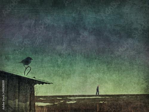 Crow man melancholy Wallpaper Mural