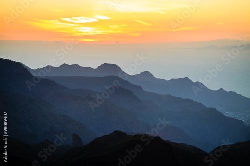 Photo  Mountains inspirational sunset landscape, Pico del Teide volcano