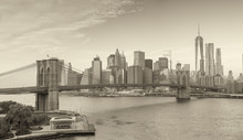Black And White Panoramic View Of Downtown Manhattan, New York
