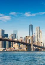 Brooklyn Bridge In New York On A Sunny Day